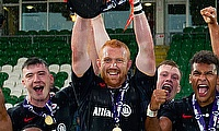 Joel Conlon lifting the Premiership 7s Cup