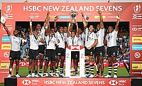Fiji players celebrate the Challenge Trophy Final win over USA on day two of the HSBC World Rugby Sevens Series in Hamilton