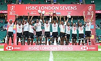 Fiji celebrate the cup final win over Australia on day two of the HSBC World Rugby Sevens Series at Twickenham Stadium in London