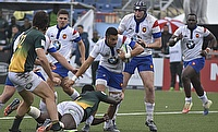 France on the attack against South Africa in their semi-final at the Racecourse Stadium in Rosario