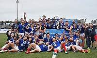 France players celebrate after beating Australia 24-23 in the World Rugby U20 Championship 2019 final at the Racecourse Stadium in Rosario