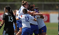 France Women celebrating their win over New Zealand in the third round of Women's Super Series