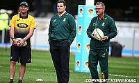 Rassie Erasmus (centre) will name the final World Cup squad on 26th August