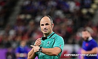 Referee Jaco Peyper during the Rugby World Cup 2019 Quarter Final match between Wales and France