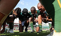 South Africa players in a prayer after the match against Spain on day two