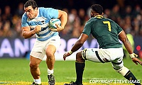 Agustin Creevy (left) scored Jaguares' final try