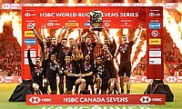 New Zealand 7s side celebrating their win in Vancouver