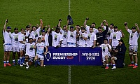 Sale Sharks celebrating the Premiership Cup title victory