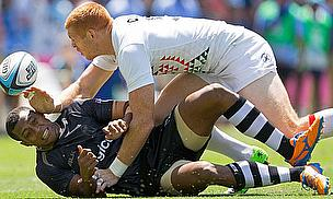 James Rodwell making the tackle against Fiji