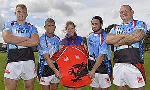 Help for Heroes Donor Development Manager Hannah Bower with London Welsh's Josh McNally (RAF), Team Captain Tom May, Piri Weepu and Ricky Reeves (Army