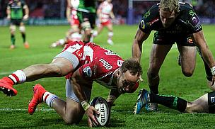 Billy Meakes evaded two Exeter defenders to score Gloucester's first try