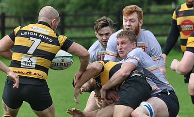 Tom Eckersley putting in one of many tackles made throughout the match