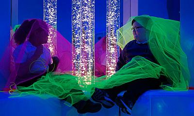 Margaret Terry and Keelin McKenna in the new BT Sensory Room