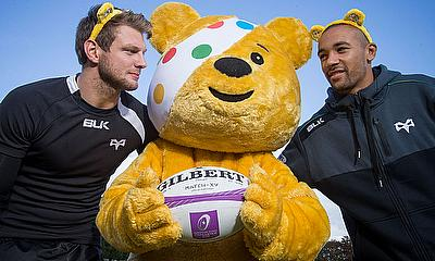 Ospreys Rugby players Dan Biggar and Eli Walker are joined by Pudsey
