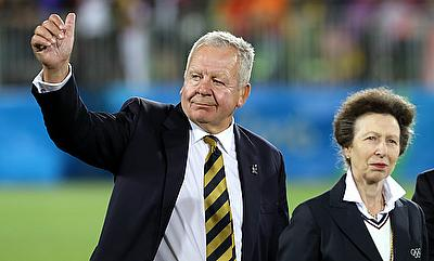 World Rugby chairman Bill Beaumont shows his approval at the rugby sevens in Rio