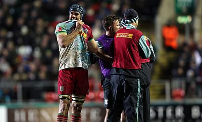 Harlequins James Horwill gets treatment to his finger during the Aviva Premiership match at Welford Road, Leicester.