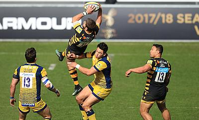Worcester's Bryce Heem, centre, was sent off for this tackle on Wasps back Willie Le Roux