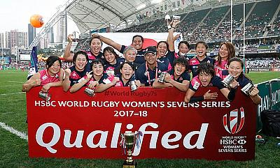Japan 7s team celebrating the win