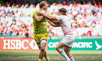 England vs Australia during their HSBC World Rugby Sevens Series match as part of the Cathay Pacific / HSBC Hong Kong Sevens