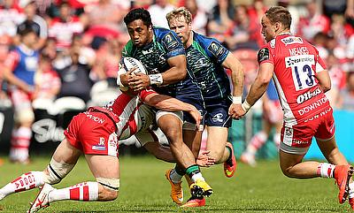 Connacht centre Bundee Aki, with ball, has been banned for three games