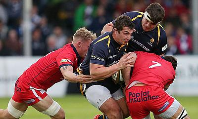Worcester's Val Rapava Ruskin, centre, will not play again until September.