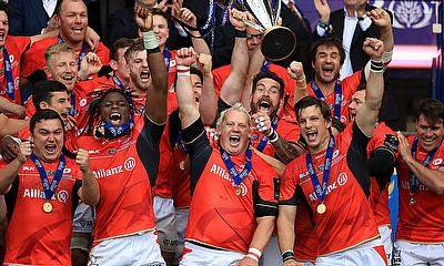 Saracens lift the trophy at Murrayfield