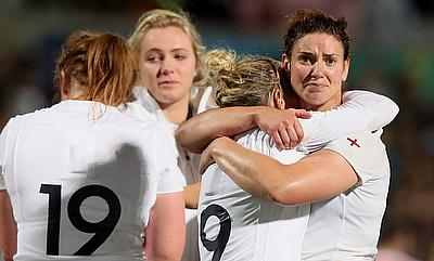 England captain Sarah Hunter, pictured right, and her team were denied World Cup glory by New Zealand