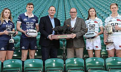 Sophie Behan (L), Conor Kearns, Rhino CEO Reg Clark, Varsity Match CEO David Searle, Lara Gibson and Charlie Amesbury