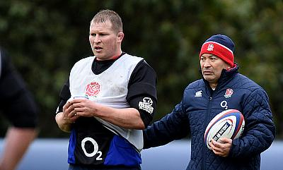 Dylan Hartley (left) was named on the bench for the first time under Eddie Jones