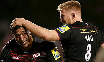 Jackson Wray, right, celebrates scoring a try with Mako Vunipola