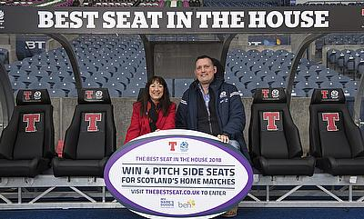 Chris Gardner of The BEN charity as Tennent's Lager launched a charity raffle to give away the 'Best Seat in the House'