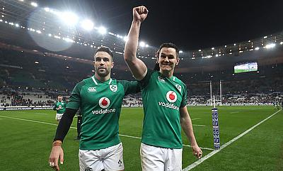 Ireland's Johnny Sexton (right) celebrates with Conor Murray after beating France