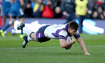 Huw Jones touches down for Scotland in the home win over France