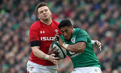 Ireland's Bundee Aki (right) tackled by Ireland's Dan Biggar during the RBS Six Nations match at the Aviva Stadium, Dublin.