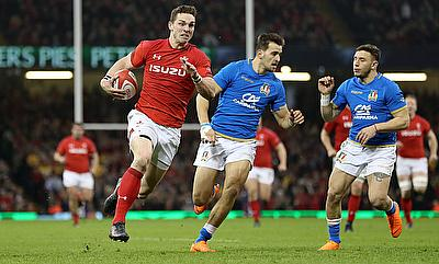 Wales' George North runs in his side's second try during the NatWest 6 Nations match at the Principality Stadium, Cardiff.