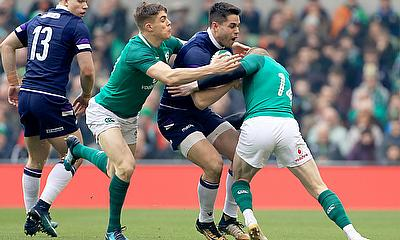 Sean Maitland take the ball into the Irish defence