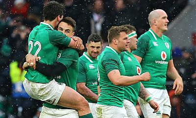 Ireland's Joey Carbery (left) celebrates winning the grand slam with team mates