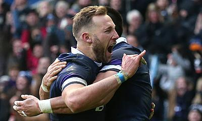 Byron McGuigan (left) scored the opening try for Scotland