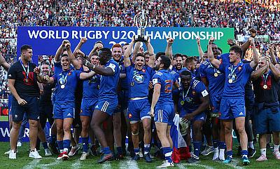 France celebrating their win in World Rugby U20 Championship 2018