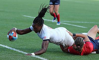 USA's Cheta Emba scores the match winning try against Russia on day one of the Rugby World Cup Sevens 2018
