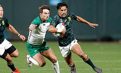 South Africa's Selvyn Davids cuts through the Ireland defence on day one of the Rugby World Cup Sevens 2018 at AT&T Park in San Francisco