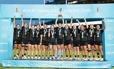 New Zealand celebrates the Rugby World Cup Sevens Championship win over France on day two of the Rugby World Cup Sevens 2018 at AT&T Park in San Franc