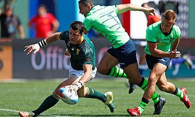 South Africa's Ruhan Nel scores a try against Scotland on day two of the Rugby World Cup Sevens 2018