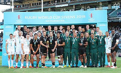 Gold, silver, and bronze winners New Zealand, England, and South Africa pose for a group photo on day three of the Rugby World Cup Sevens 2018
