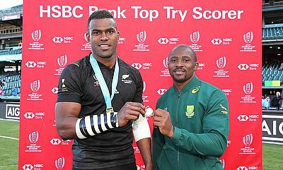 New Zealand's Joe Ravouvou and South Africa's Siviwe Soyizwapi are the men's HSBC Bank Top Try Scorers of Rugby World Cup Sevens 2018