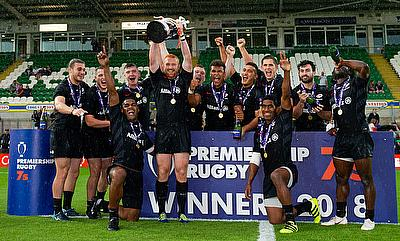 Saracens celebrating their win in the Premiership Rugby 7s