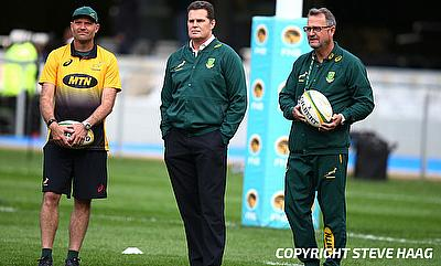 South Africa head coach Rassie Erasmus (centre) in action