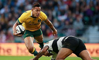 Israel Folau (left) will start at outside centre for the first time in his career