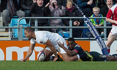Joe Cokanasiga (left) went over the line in the 72nd minute