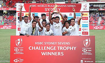 Fiji beats England to win the Challenge Trophy Final on day two of the HSBC World Rugby Women's Sevens Series in Sydney